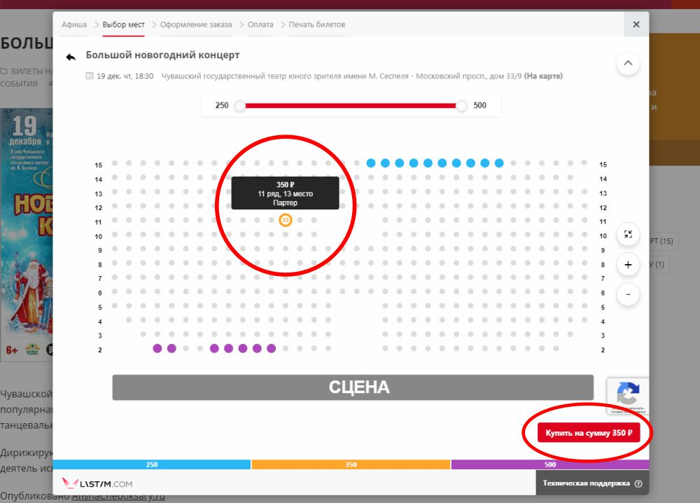 Как купить билет на AfishaCheboksary.ru - правило второе